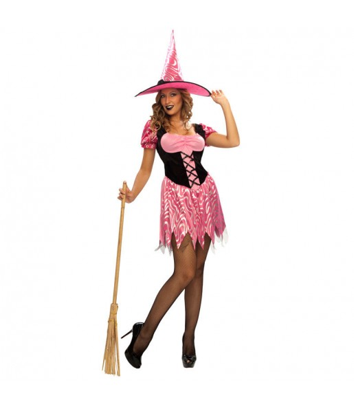 Fato de Bruxa rosa sexy mulher para a noite de Halloween