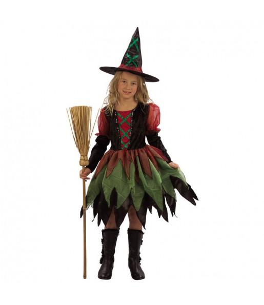 Disfarce Halloween Bruxinha colorida meninas para uma festa Halloween