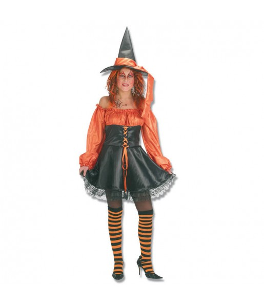 Fato de Bruxa laranja mulher para a noite de Halloween