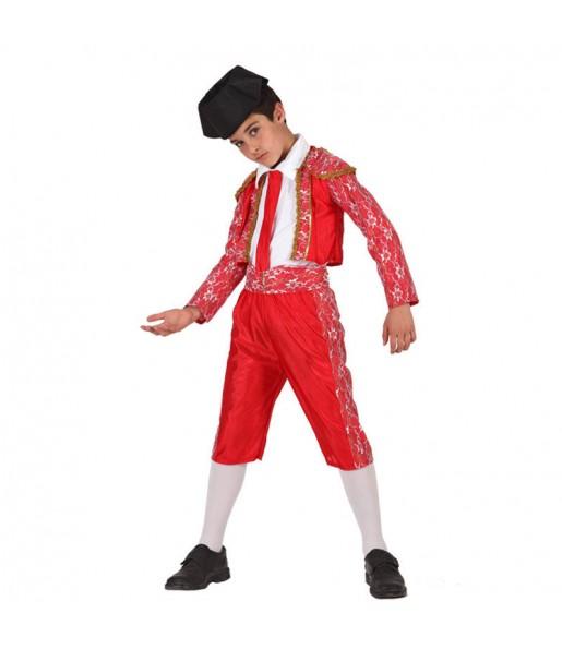 Disfarce Toureiro vermelho menino para deixar voar a sua imaginação