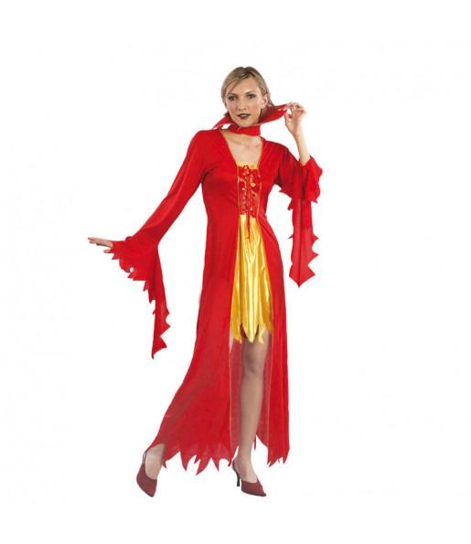 Fato de Diaba do fogo mulher para a noite de Halloween