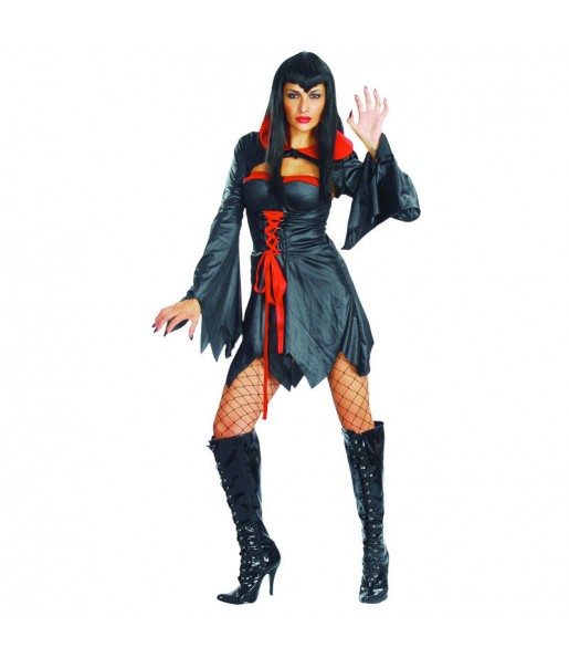 Fato de Vampiresa preta mulher para a noite de Halloween