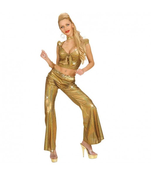 Disfarce original Calça Holográfica Ouro mulher ao melhor preço