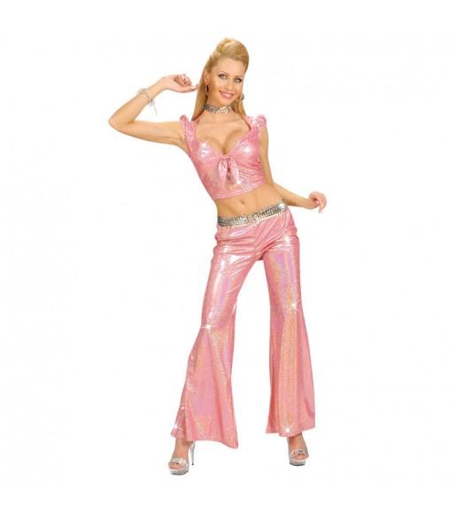 Disfarce original Calça Holográfica Rosa mulher ao melhor preço