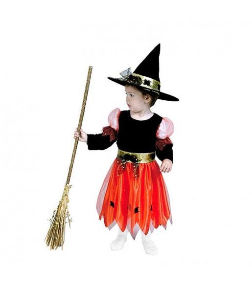Disfarce Halloween bruxinha laranja meninas para uma festa Halloween