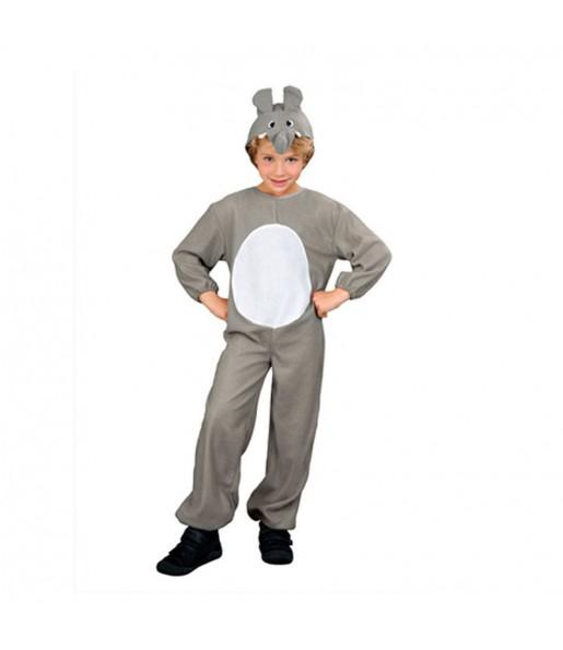 Disfarce Elefante cinzento menino para deixar voar a sua imagina??o