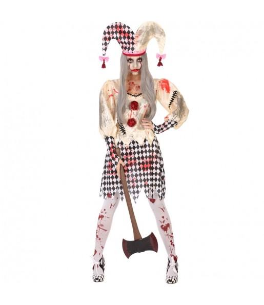 Fato de Arlequina sangrenta mulher para a noite de Halloween