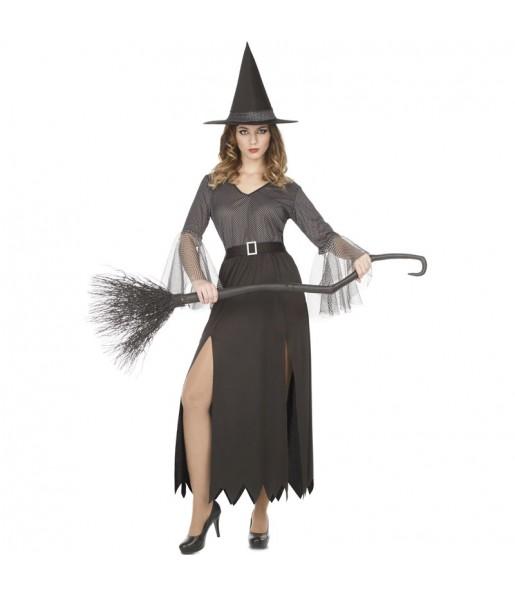 Fato de Bruxa prateada mulher para a noite de Halloween