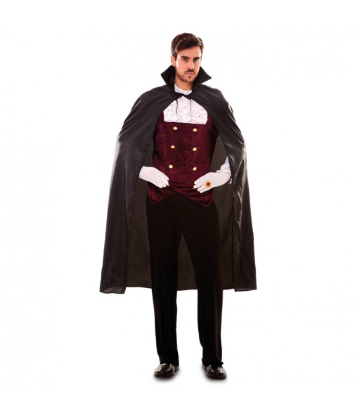 Fato de Capa preta vampiro adulto para a noite de Halloween