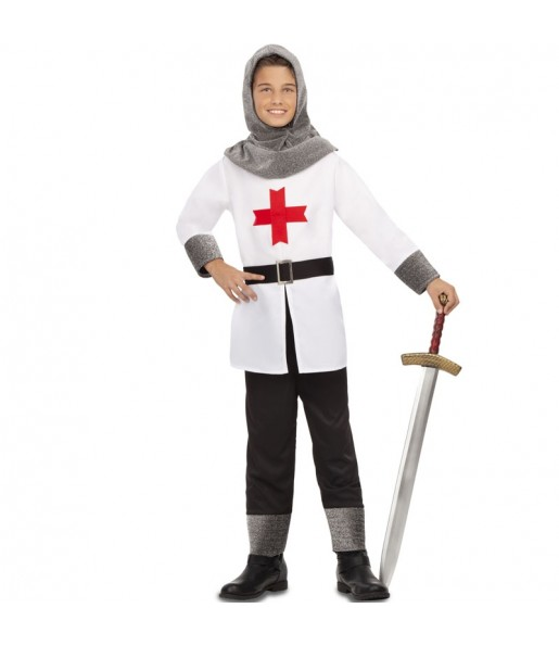 Disfarce Cruzado Medieval branco menino para deixar voar a sua imaginação