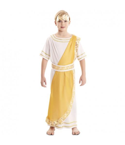 Fato de Imperador romano dourado para menino
