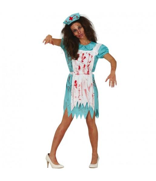 Fato de Enfermeira zombie ambulante para mulher
