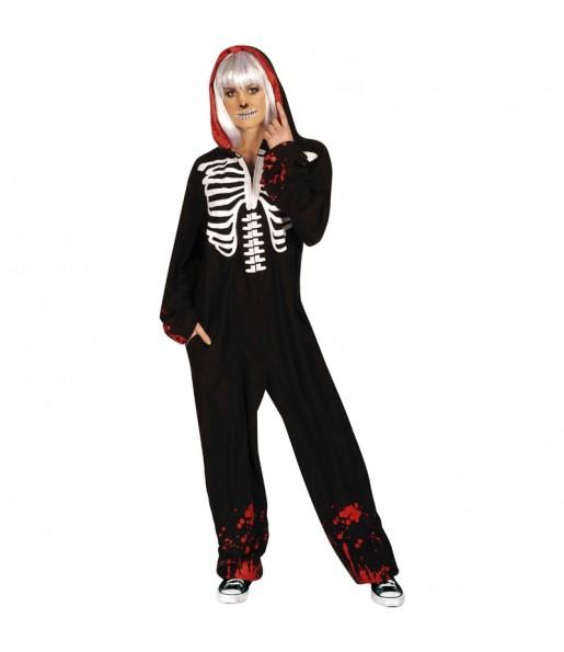 Fato de Esqueleto sangrento kigurumi adulto para a noite de Halloween