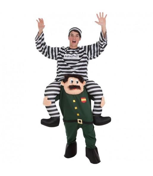 Disfarce Ride On Prisioneiro em Guarda Civil adulto divertidíssimo para qualquer ocasião