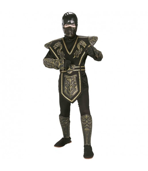 Fato de Guerreiro ninja dourado para menino