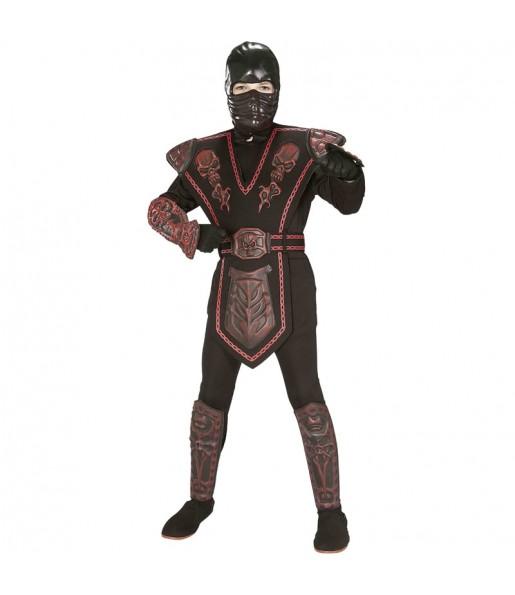 Fato de Guerreiro ninja vermelho para menino