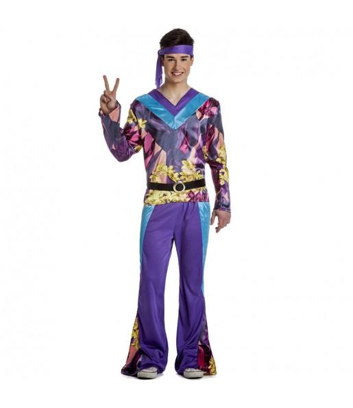 Fato de Hippie púrpura para homem