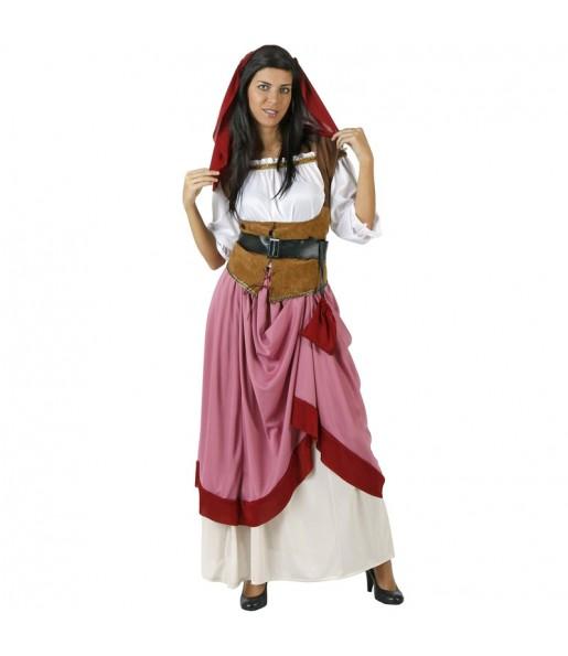 Fato de Hospedeira medieval vermelho para mulher