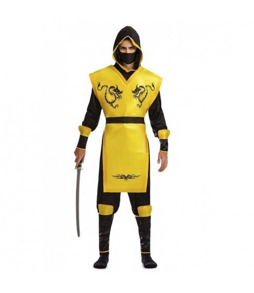 Disfarce Ninja Amarelo adulto divertidíssimo para qualquer ocasião