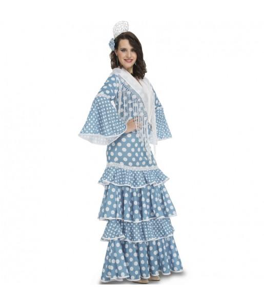 Disfarce original Flamenca azul claro mulher ao melhor preço