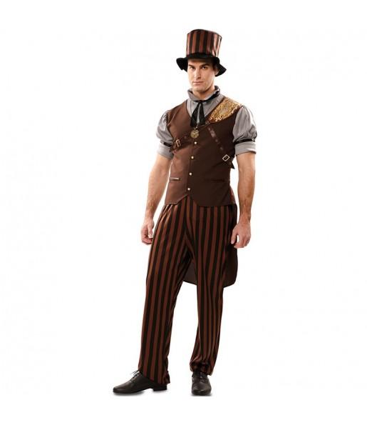 Fato de Steampunk gótico adulto para a noite de Halloween