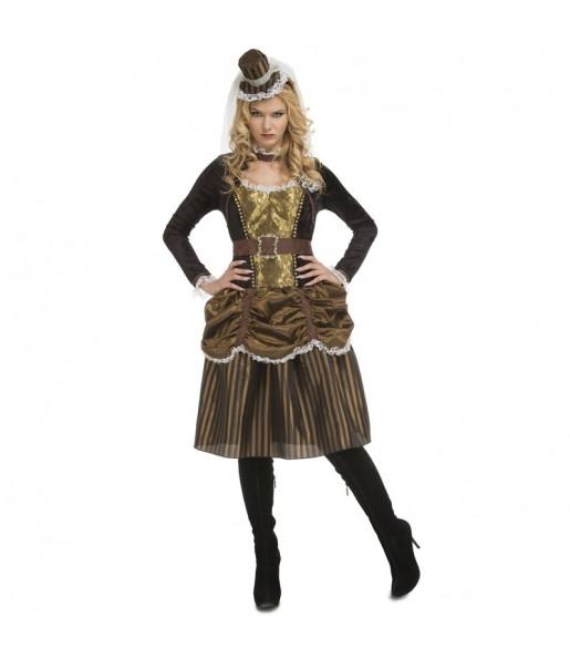 Fato de Steampunk mulher para a noite de Halloween