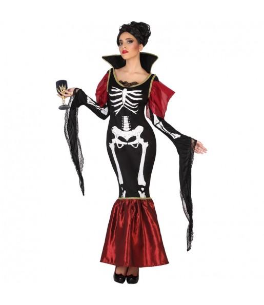 Fato de Vampiresa Esqueleto mulher para a noite de Halloween
