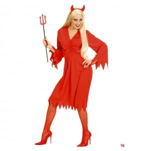 Fato de Demónio vermelho mulher para a noite de Halloween