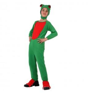 Disfarce Sapo verde menino para deixar voar a sua imaginação