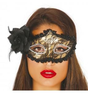 Máscara dourada com rosa para completar o seu fato Halloween e Carnaval