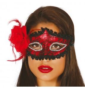 Máscara vermelha com rosa para completar o seu fato Halloween e Carnaval