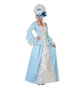 Disfarce original Cortesã Azul mulher ao melhor preço