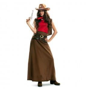 Disfarce original Cowgirl marrom mulher ao melhor preço