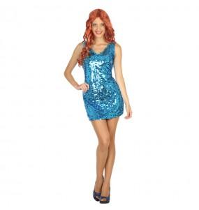 Disfarce original Discoteca azul lantejoulas mulher ao melhor preço
