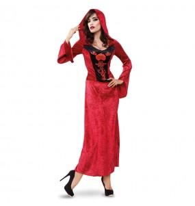 Fato de Vampiresa Vermelha mulher para a noite de Halloween