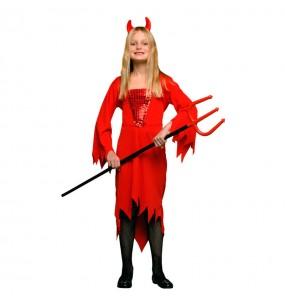 Disfarce Halloween Demónio Vermelho meninas para uma festa Halloween