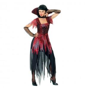 Fato de Vampiresa gótica mulher para a noite de Halloween