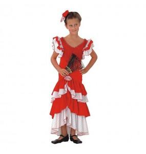 Disfarce Sevillana Flamenca menina para que eles sejam com quem sempre sonharam