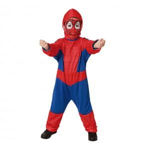 Disfarce pequeno Herói Aranha menino para deixar voar a sua imaginação