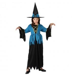 Disfarce Halloween Bruxa Azul meninas para uma festa Halloween