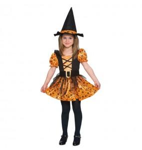 Disfarce Halloween Bruxa Laranja meninas para uma festa Halloween