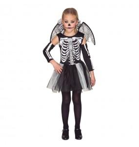 Disfarce Halloween Esqueleto com asas meninas para uma festa Halloween