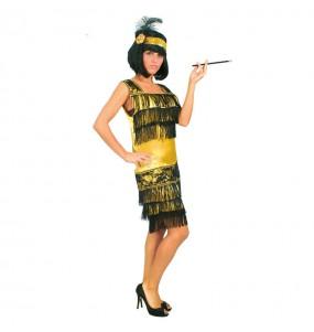 Disfarce original Charleston dourado e preto mulher ao melhor preço
