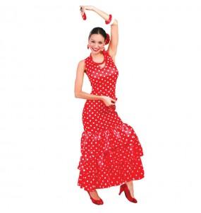 Disfarce original Flamenca vermelha às bolinhas brancas mulher ao melhor preço