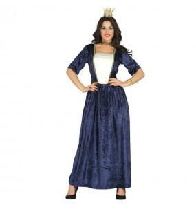 Disfarce original Dama medieval azul mulher ao melhor preço