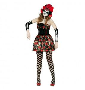 Fato de Catrina mulher para a noite de Halloween