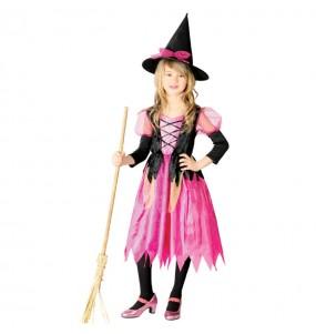 Disfarce Halloween Bruxa Rosa meninas para uma festa Halloween