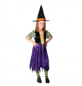 Disfarce Halloween Bruxa listrada meninas para uma festa Halloween