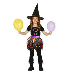 Disfarce Halloween Bruxa multicolor meninas para uma festa Halloween