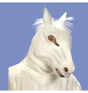 Máscara cavalo branco para completar o seu fato Halloween e Carnaval